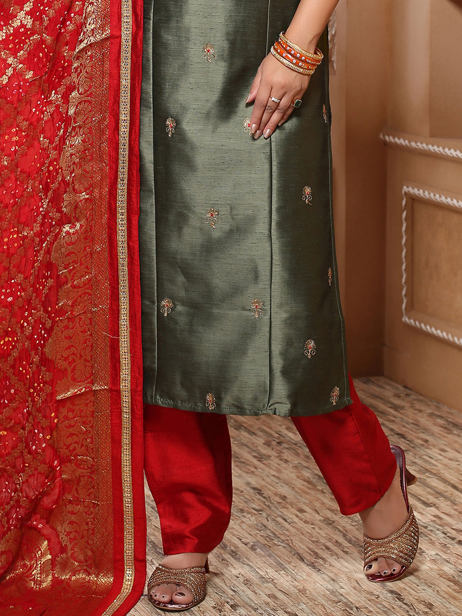 Dark Gray Art Silk Embroidered Festival Pant Kameez