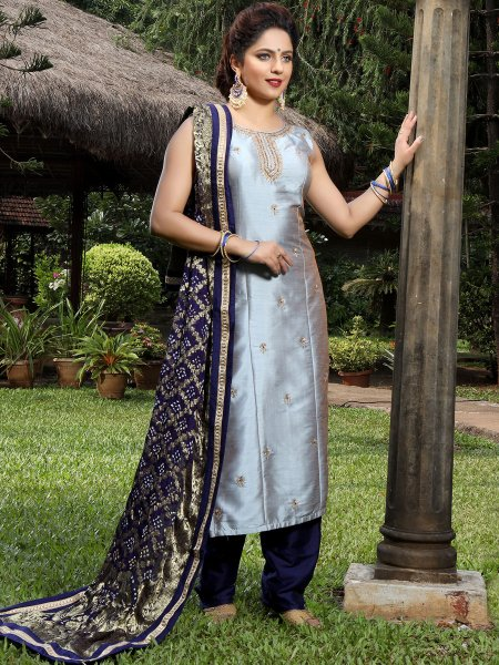 Gray Art Silk Embroidered Festival Pant Kameez