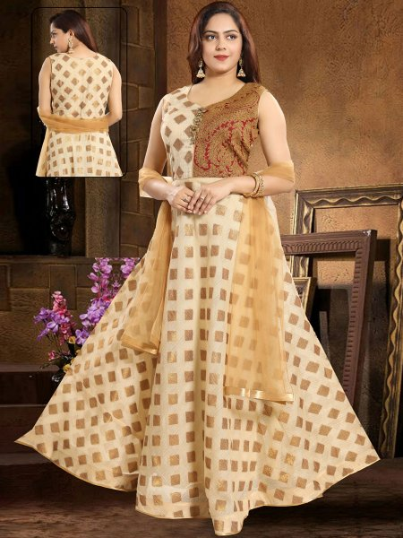 Cream Yellow and Maroon Banarasi Handwoven Festival Lawn Kameez