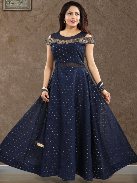 Navy Blue Art Chanderi Silk Embroidered Festival Lawn Kameez