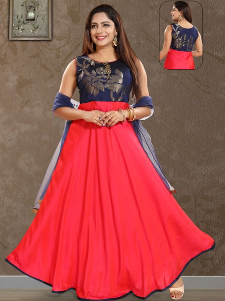 Navy Blue and Coral Red Silk Handwoven Festival Lawn Kameez