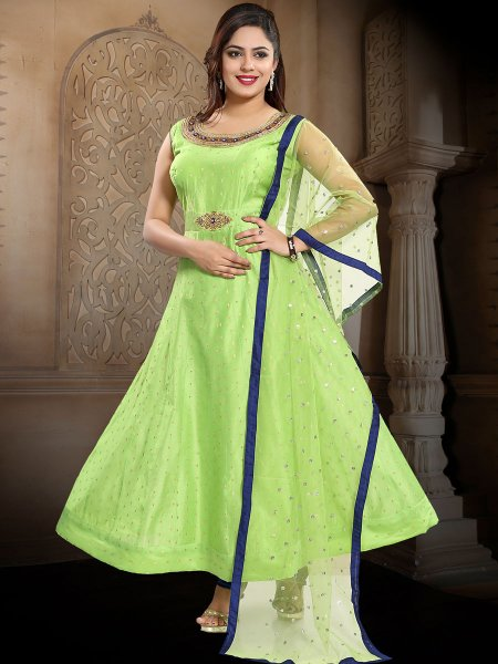 Light Green Chanderi Silk Embroidered Party Lawn Kameez