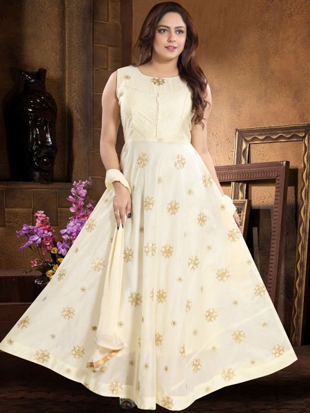 Cream Yellow Chanderi Silk Embroidered Party Lawn Kameez