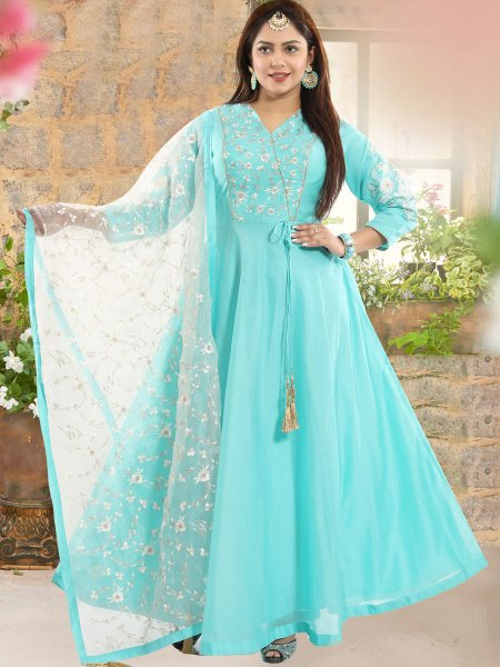 Sky Blue Chanderi Silk Embroidered Festival Lawn Kameez