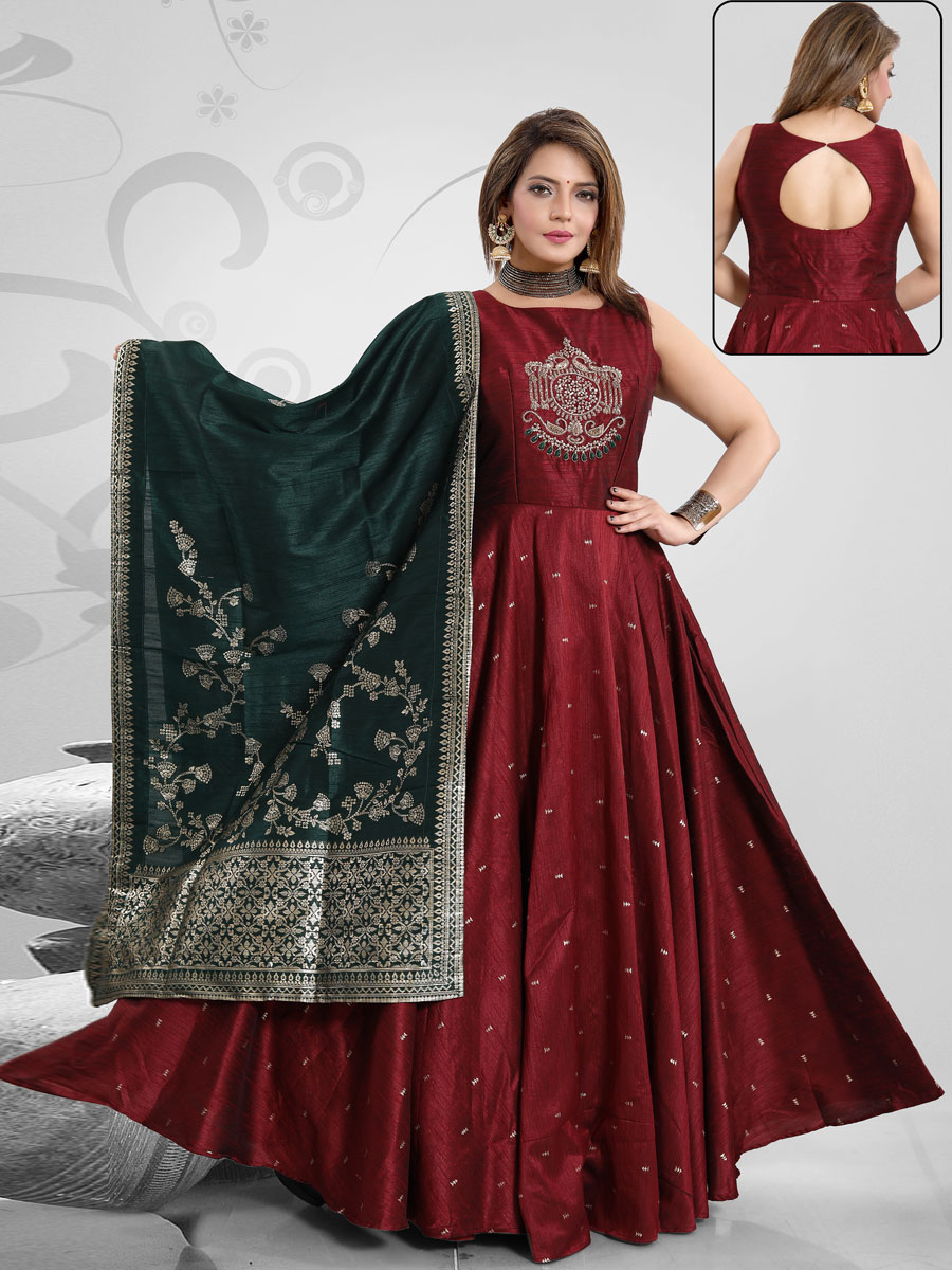 Maroon Art Silk Embroidered Party Lawn Kameez