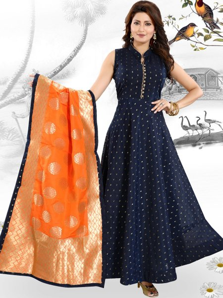 Navy Blue Chanderi Handwoven Party Lawn Kameez