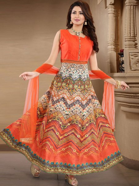Portland Orange and Off-White Banglori Silk Printed Party Lawn Kameez