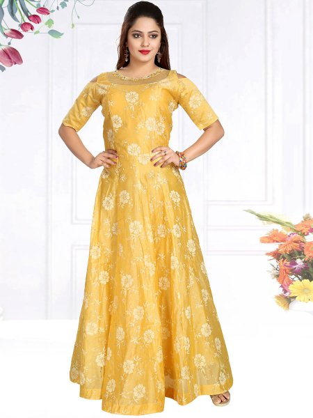 Jonquil Yellow Chanderi Silk Embroidered Party Gown
