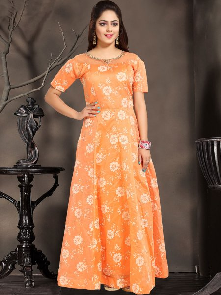 Coral Orange Chanderi Silk Embroidered Party Gown