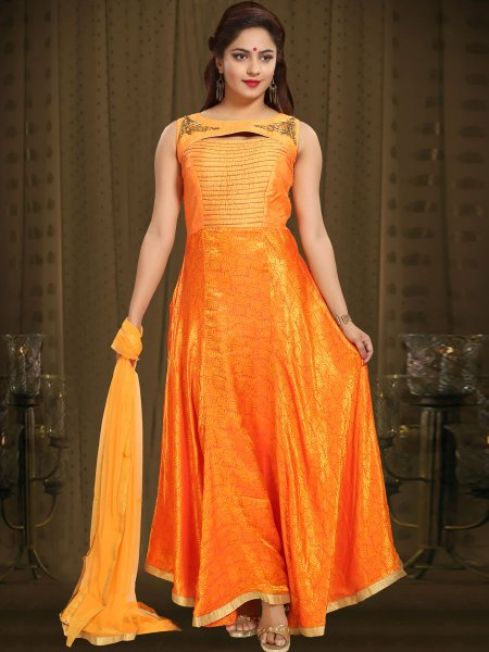 Orange Peel Banarasi Silk Embroidered Party Lawn Kameez