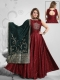 Maroon Art Silk Embroidered Party Anarkali Kameez