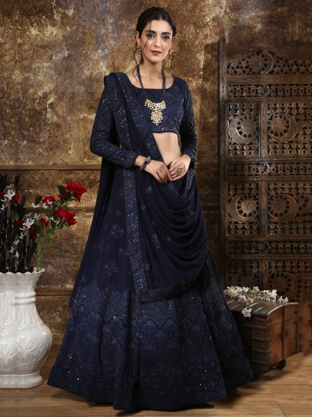 Midnight Blue Faux Georgette Embroidered Party Lehenga Choli