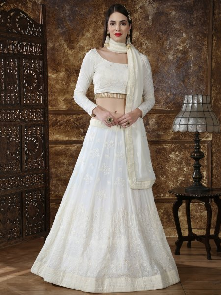Off White Faux Georgette Embroidered Party Lehenga Choli