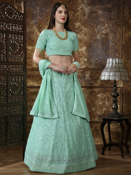 Moss Green Faux Georgette Embroidered Party Lehenga Choli