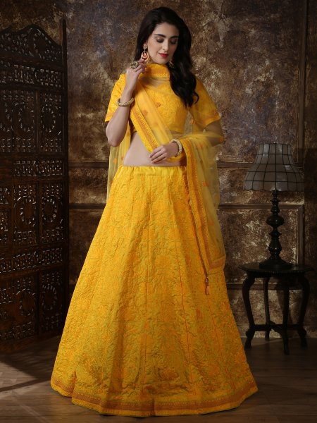 Amber Yellow Silk Embroidered Party Lehenga Choli