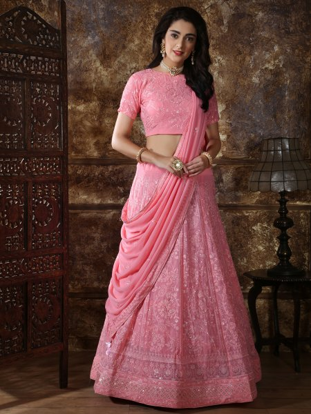 Hot Pink Faux Georgette Embroidered Party Lehenga Choli