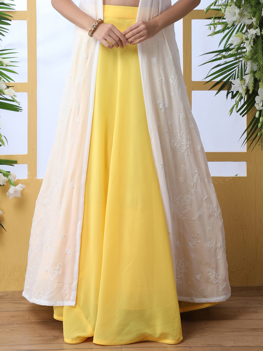 Maize Yellow Faux Georgette Embroidered Party Lehenga Choli with Jacket
