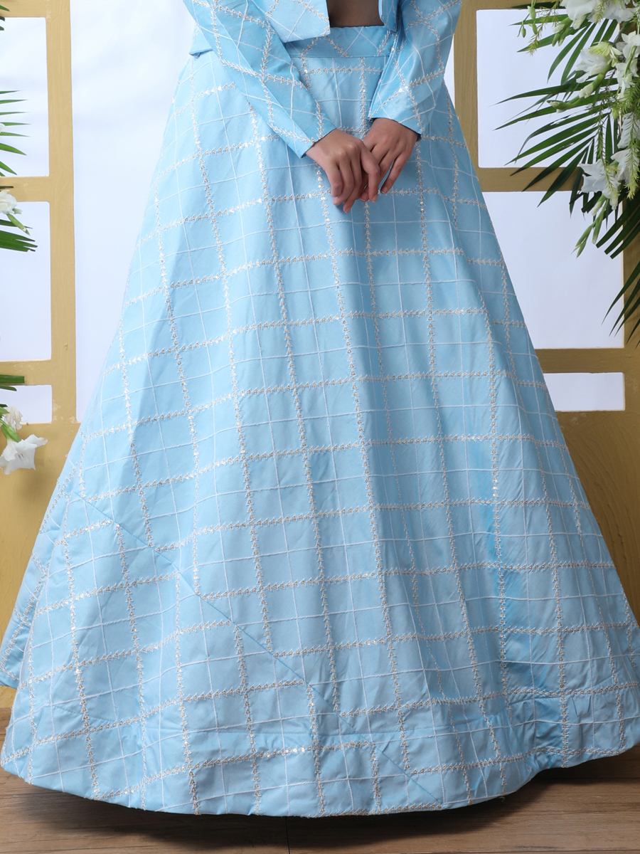 Sky Blue Art Silk Embroidered Party Lehenga Choli with Jacket