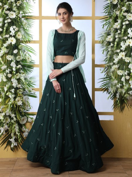 Dark Green Maslin Cotton Embroidered Party Lehenga Choli with Jacket