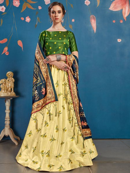 Lemon Yellow and Fern Green Art Silk Printed Party Lehenga Choli