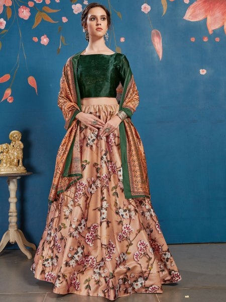 Dark Salmon Orange and Hunter Green Art Silk Printed Party Lehenga Choli