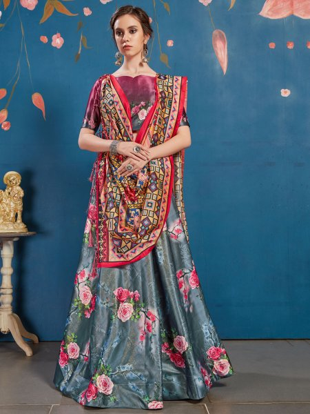 Grey and Thulian Pink Art Silk Printed Party Lehenga Choli
