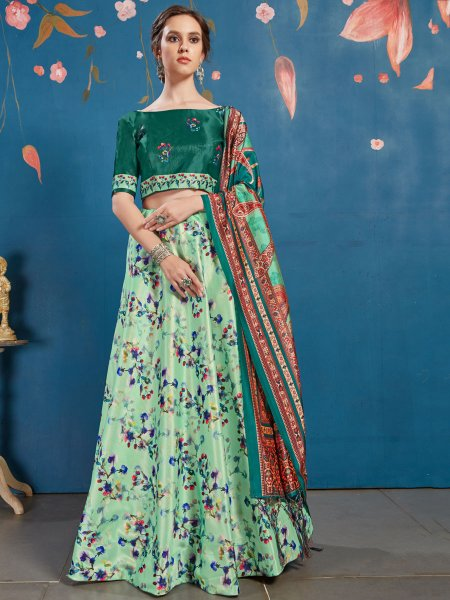 Moss Green and Pine Green Art Silk Printed Party Lehenga Choli