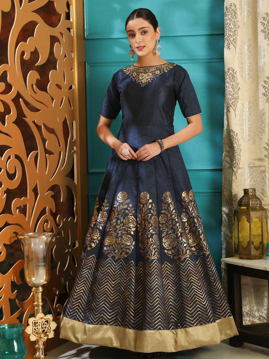 Prussian Blue Silk Embroidered Party Gown
