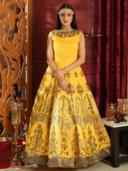 Maize Yellow Silk Embroidered Party Gown