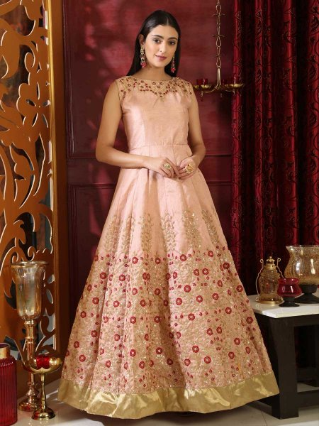 Papaya Whip Yellow Silk Embroidered Party Gown