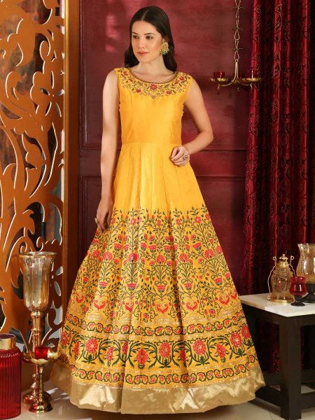 Amber Yellow Silk Embroidered Party Gown