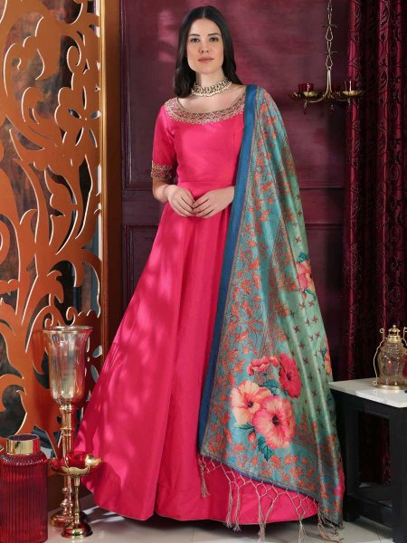 Deep Pink Silk Embroidered Party Gown