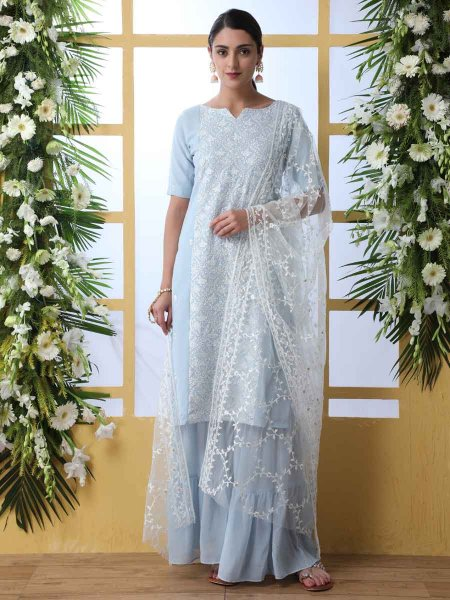 Sky Blue Faux Georgette Embroidered Party Palazzo Pant Kameez