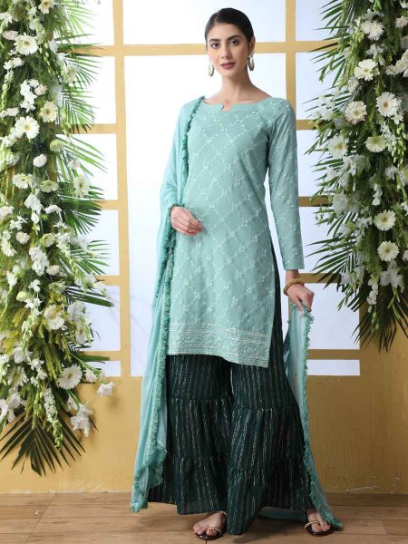 Mint Green Cotton Embroidered Party Palazzo Pant Kameez
