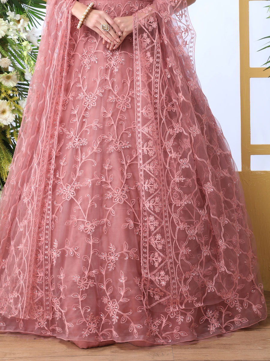 Salmon Pink Net Embroidered Party Gown