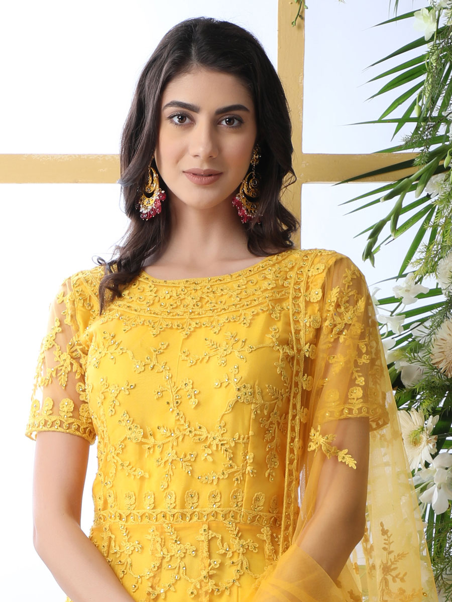 Maize Yellow Net Embroidered Party Gown