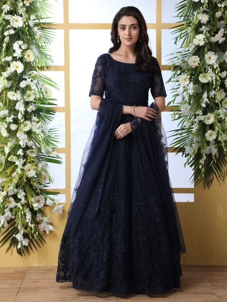 Navy Blue Net Embroidered Party Gown