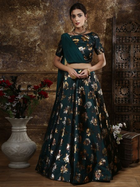Midnight Green Taffeta Satin Printed Party Lehenga Choli
