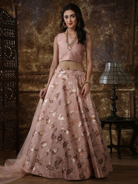 Tea Rose Pink Thai Silk Printed Party Lehenga Choli