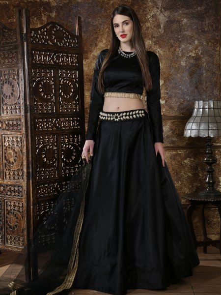 Black Taffeta Satin Plain Party Lehenga Choli