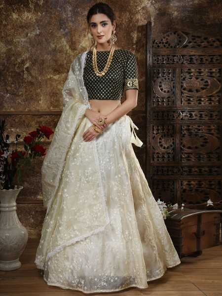 White and Black Organza Embroidered Party Lehenga Choli