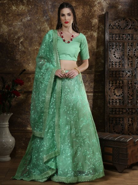 Sea Green Organza Embroidered Party Lehenga Choli