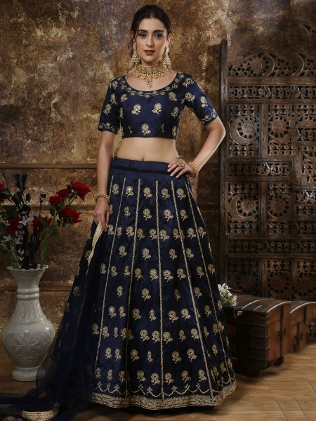 Sapphire Blue Thai Silk Embroidered Party Lehenga Choli