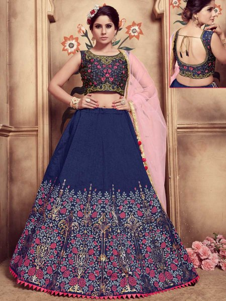 Sapphire Blue Silk Embroidered Party Lehenga Choli