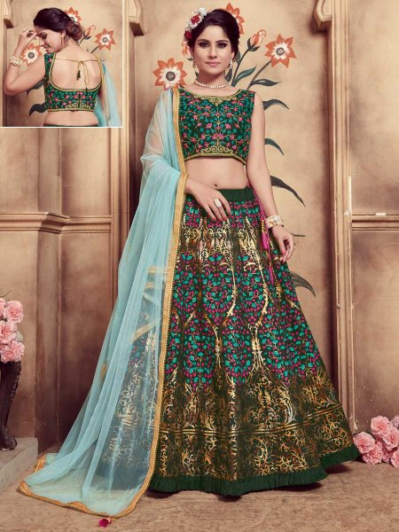 Olive Green Silk Embroidered Party Lehenga Choli