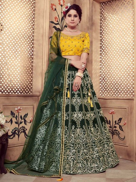 Midnight Green Silk Embroidered Party Lehenga Choli