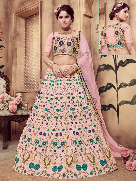 Lavender Pink Silk Embroidered Party Lehenga Choli