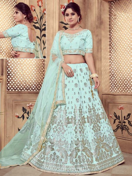Aqua Blue Silk Embroidered Party Lehenga Choli