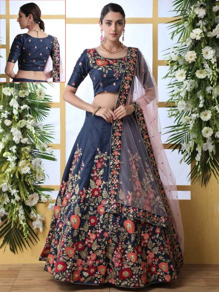 Navy Blue Art Silk Embroidered Party Lehenga Choli