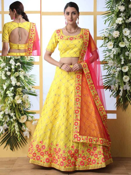 Maize Yellow Art Silk Embroidered Party Lehenga Choli